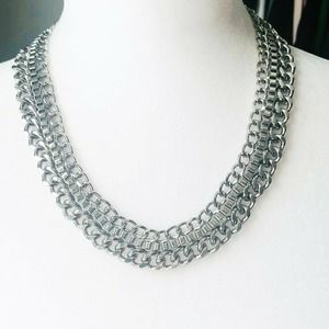 """21"""" Triple Chain Stacked Link Silver Tone Necklace"""